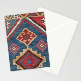 Vintage Woven Kilim // 19th Century Colorful Royal Blue Yellow Authentic Classic Ornate Accent Patte Stationery Cards