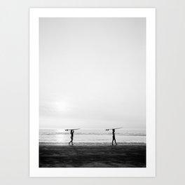 Surfer couple | Wanderlust photography of surfer couple | Coastal wall art. Art Print