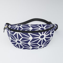 Asanoha Pattern - White on Navy Fanny Pack