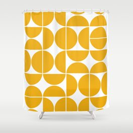 Mid Century Modern Geometric 04 Yellow Shower Curtain