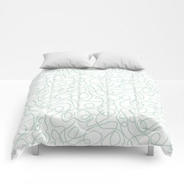 Doodle Line Art   Mint Green Lines on White Background Comforters