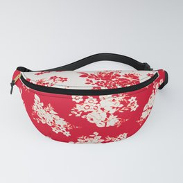 small bouquets in bright red with border Fanny Pack