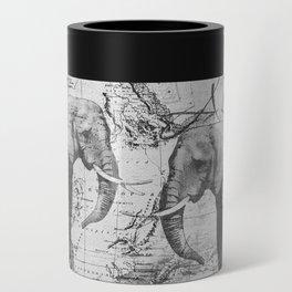African Spirit Vintage Elephant black white Can Cooler