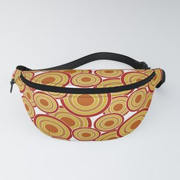 Overlapping Circles in Red, Mustard, Burnt Orange Fanny Pack