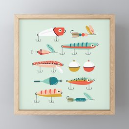 Fishing Lures Light Blue Framed Mini Art Print