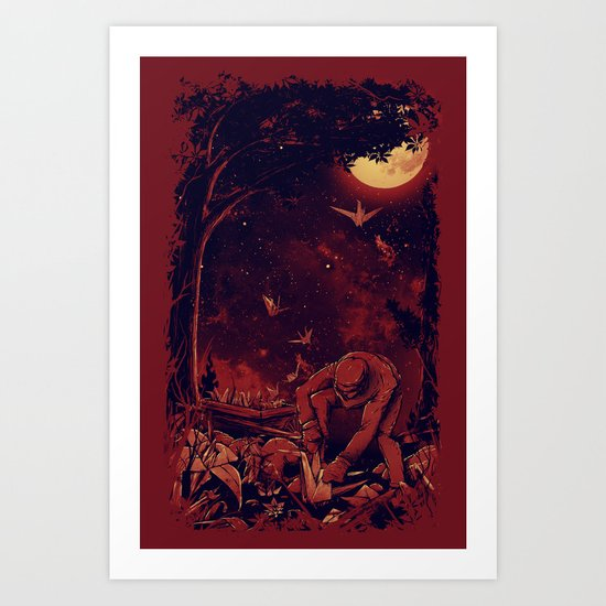 Night at the Origami Garden Art Print
