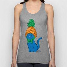 Blue Cat Wears Pineapple Hat Unisex Tank Top