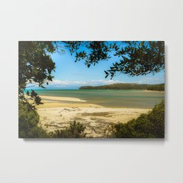 framed Abel Tasman beach Metal Print