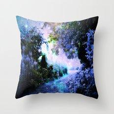 fantasy garden Periwinkle Throw Pillow