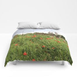 Poppies on a Hill Comforters