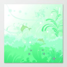Dolphins Swimming Canvas Print