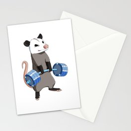 Funny Weight Lifting Fitness Gym Opossum Stationery Cards
