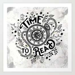 Time to Read - Black Art Print