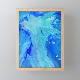 Turquoise Blue Fluid Abstract Art Painting Framed Mini Art Print