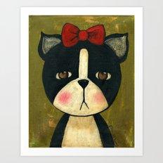 Portrait Of A Boston Terrier Dog Art Print