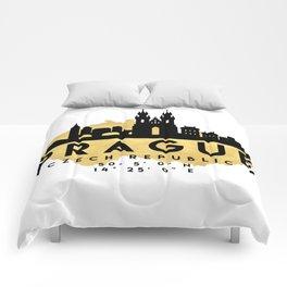 PRAGUE CZECH REPUBLIC SILHOUETTE SKYLINE MAP ART Comforters