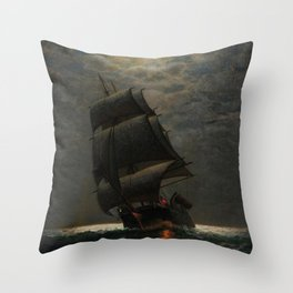 Schooner at Midnight off the Rhode Island Coast by James Gale Tyler Throw Pillow