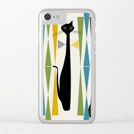 Mid-Century Modern Art Cat 2 Clear iPhone Case