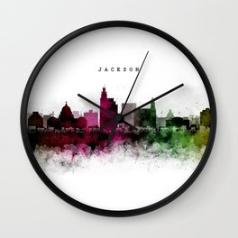 Jackson Watercolor Skyline Wall Clock
