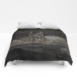 Anubis on Egyptian pyramids landscape Comforters