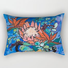 Lions and Tigers Vase with Protea Bouquet Rectangular Pillow