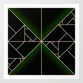 Deco Triangles Green Art Print