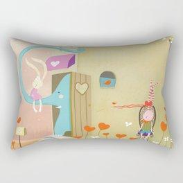 floating ears rabbit Rectangular Pillow