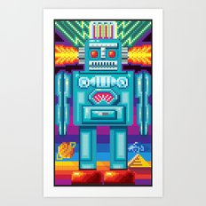 Pixel Robot Art Print