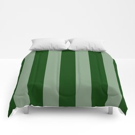 Forest Green Vertical Stripes Comforters