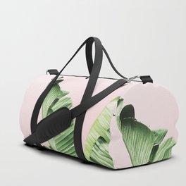 Banana Leaf on pink Duffle Bag