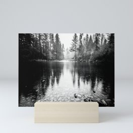 Forest Reflection Lake - Black and White  - Nature Photography Mini Art Print