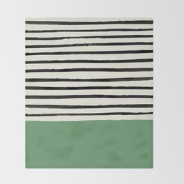 Moss Green x Stripes Throw Blanket