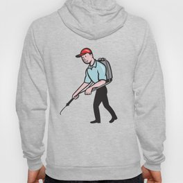 Pest Control Exterminator Spraying Cartoon Hoody