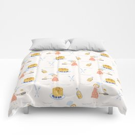 Cute girl cook with pancake and chef hat illustration Comforters