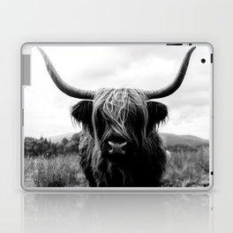 Scottish Highland Cattle Black and White Animal Laptop & iPad Skin