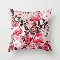 Floral and Flemingo III Pattern Throw Pillow