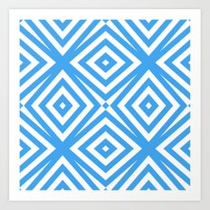 Blue and WHite Diamond Abstract Art Print
