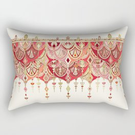 Royal Red Art Deco Double Drop Rectangular Pillow