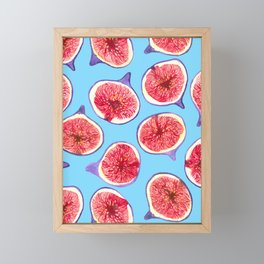 Fig slices watercolor pattern Framed Mini Art Print
