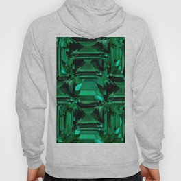 CLUSTERED FACETED EMERALD GREEN MAY GEMSTONES Hoody