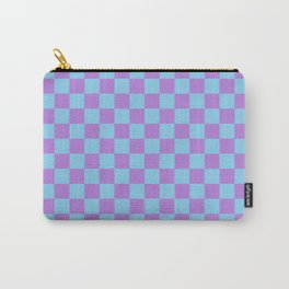 Lavender Violet and Baby Blue Checkerboard Carry-All Pouch