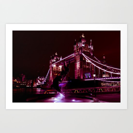 Tower Bridge and Girl and Dolphin Statue Art Print