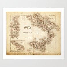 Map of Italy 1855 Art Print