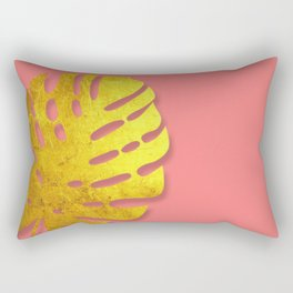 Gold Metallic Palm Leaf on Pink Rectangular Pillow