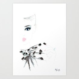 Watercolour Fashion Illustration Titled Bow Top Art Print