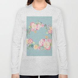 Spring Bouquet Wreath Duck Egg Blue Floral Print Long Sleeve T-shirt