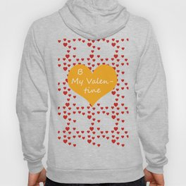 Bright ruby red fancy abstract love style pattern with fine golden hearts and bubbles Hoody