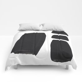 Black And White Minimalist Mid Century Abstract Ink Art Simple Brush Strokes Square Exclamation Mark Comforters