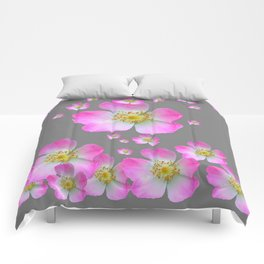 WIND BLOWN PINK WILD GARDEN ROSES Comforters