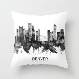 Denver Colorado Skyline BW Throw Pillow